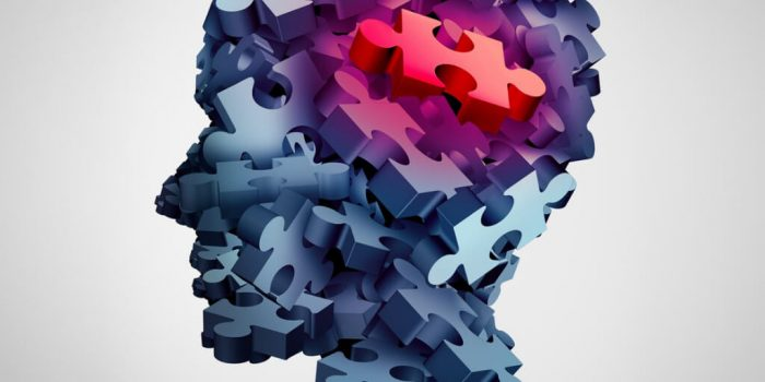 Illustrated figure head made up of 3-D puzzle pieces with one red piece in part of the brain
