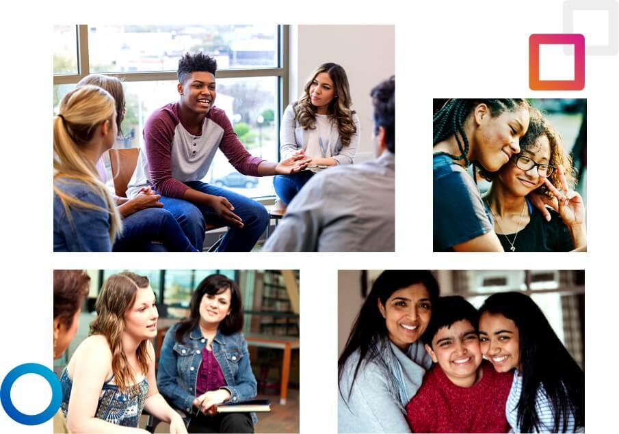 Collage of photos of youth and therapists