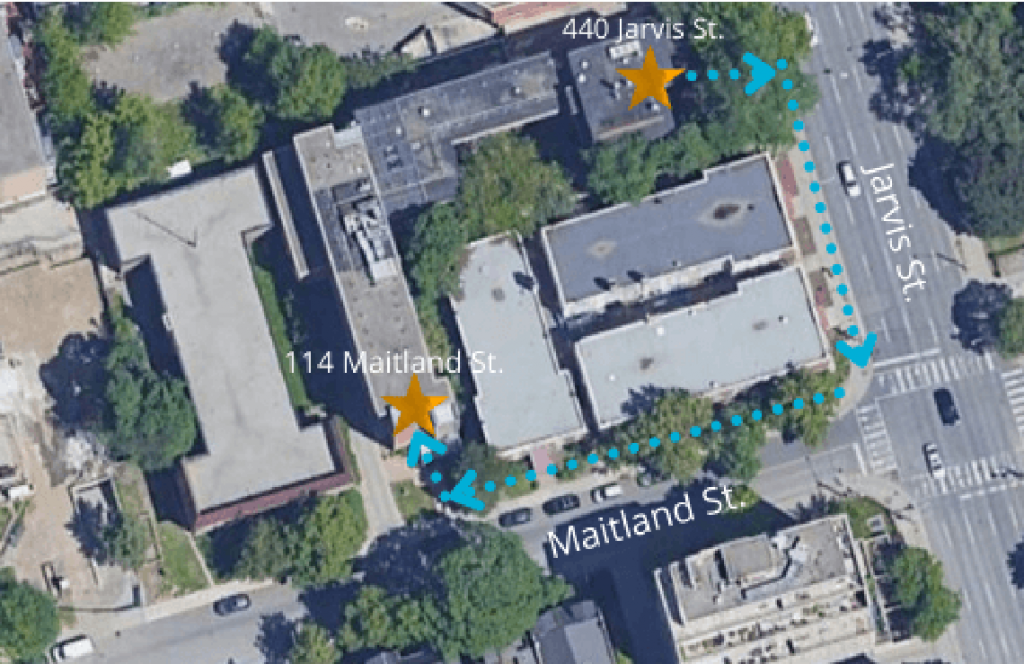 Map showing entrance to Jarvis location