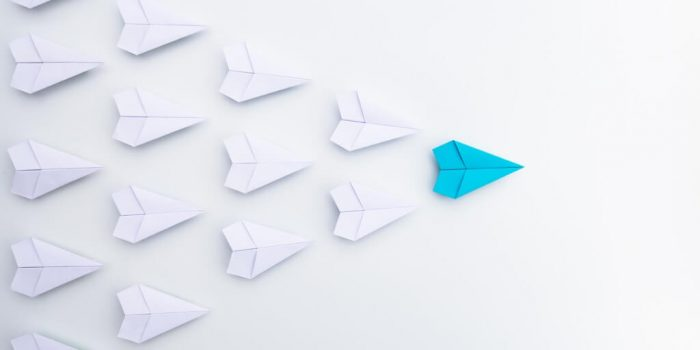 Essential skills of a supervisor showing a blue paper plane leading a group of planes