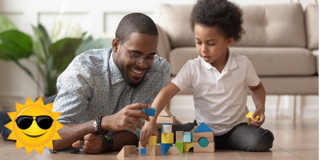 father and son imagination play possibilities with blocks