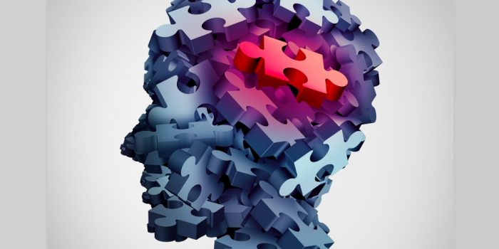 brain made of puzzle pieces with red for trauma training for certificate in trauma counselling