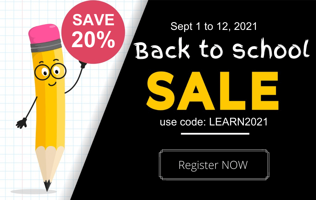 back to school sale save 20% with code LEARN2021